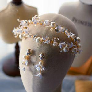 Mooie / Prachtige Goud Tiara Oorbellen Bruidssieraden 2020 Legering Bloem Parel Rhinestone Huwelijk Accessoires