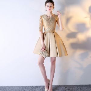 Chic / Beautiful Gold Graduation Dresses 2017 U-Neck Lace Appliques Backless Printing Homecoming Party Dresses