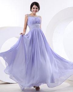 Vackra A-linje Bateau Golv-langd Chiffong Kvinnor Aftonklänningar