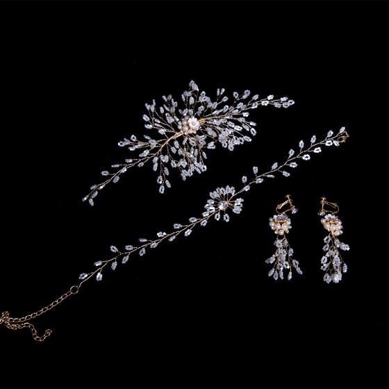 Enkla Guld Brudsmycken 2020 Legering Pärla Beading Hårsmycken Halsband Tassel Örhängen Bröllop Tillbehör