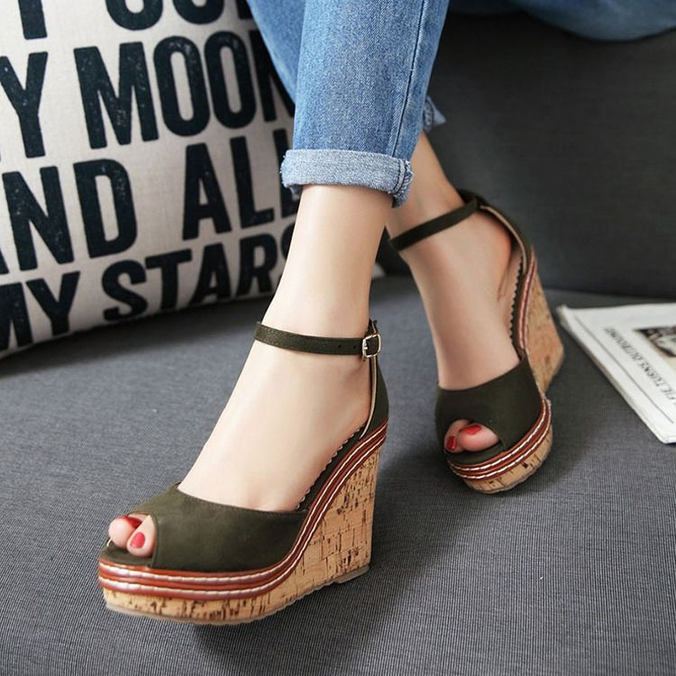 Chic / Beautiful 8 cm 2017 Black Green Pearl Pink Casual Outdoor / Garden PU Summer Pearl Pink Green Strappy High Heels Thick Heels Sandals Open / Peep Toe Pumps