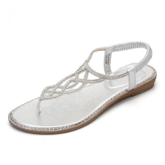 Bohemia Beach Silver Flat Womens Shoes 2020 Suede Rhinestone T-Strap Slipper & Flip flops