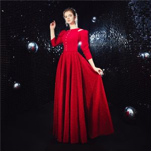Vintage / Retro Red Evening Dresses  2020 A-Line / Princess Scoop Neck Puffy 3/4 Sleeve Glitter Polyester Floor-Length / Long Ruffle Formal Dresses