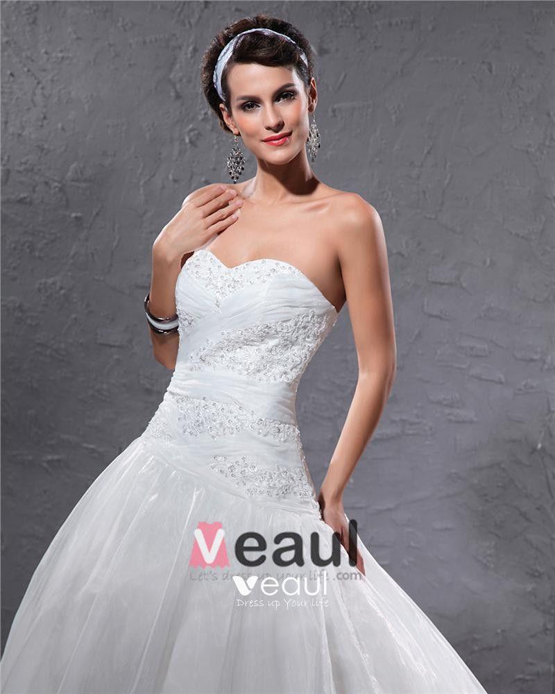 Elegant Organza Pleated Applique Beaded Sweetheart Floor Length Court Train Ball Gown Wedding Dress