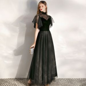 Chic / Beautiful Black Evening Dresses  2020 A-Line / Princess Suede High Neck Short Sleeve Floor-Length / Long Formal Dresses