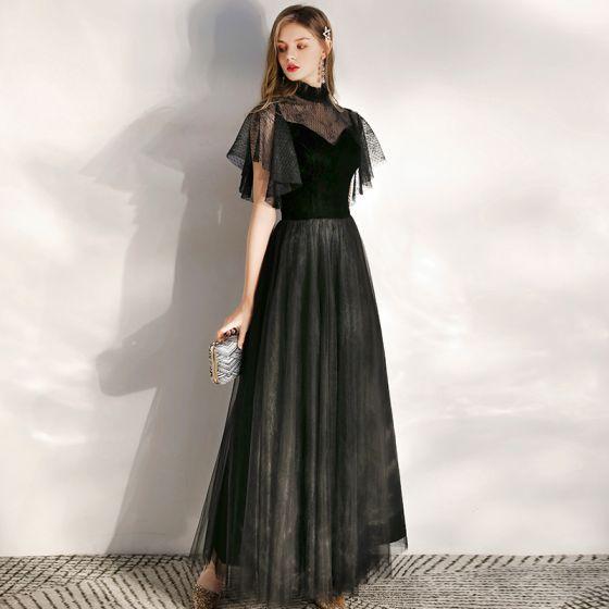 Chic / Beautiful Black Evening Dresses  2020 A-Line / Princess Suede High Neck Short Sleeve Floor-Length / Long Formal Dresses