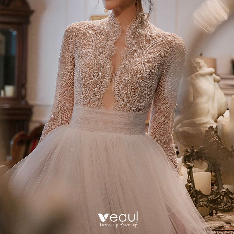 Dressv Ivory Wedding Dress Strapless Long Sleeves Chapel: Elegant Ivory Pierced Wedding Dresses 2018 Empire High