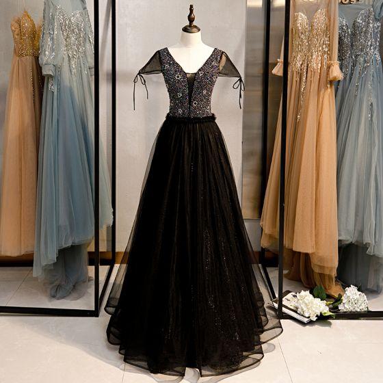 Elegant Black Prom Dresses 2020 A-Line / Princess V-Neck Beading Cap Sleeves Backless Floor-Length / Long Formal Dresses