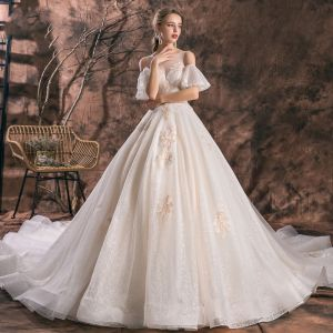 Romantic Champagne See-through Wedding Dresses 2019 A-Line / Princess Scoop Neck Short Sleeve Backless Appliques Lace Glitter Tulle Cathedral Train Ruffle