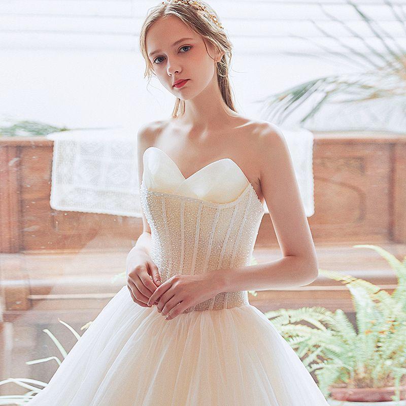 Best Champagne Wedding Dresses 2018 A-Line / Princess Sweetheart Sleeveless Backless Beading Floor-Length / Long Ruffle