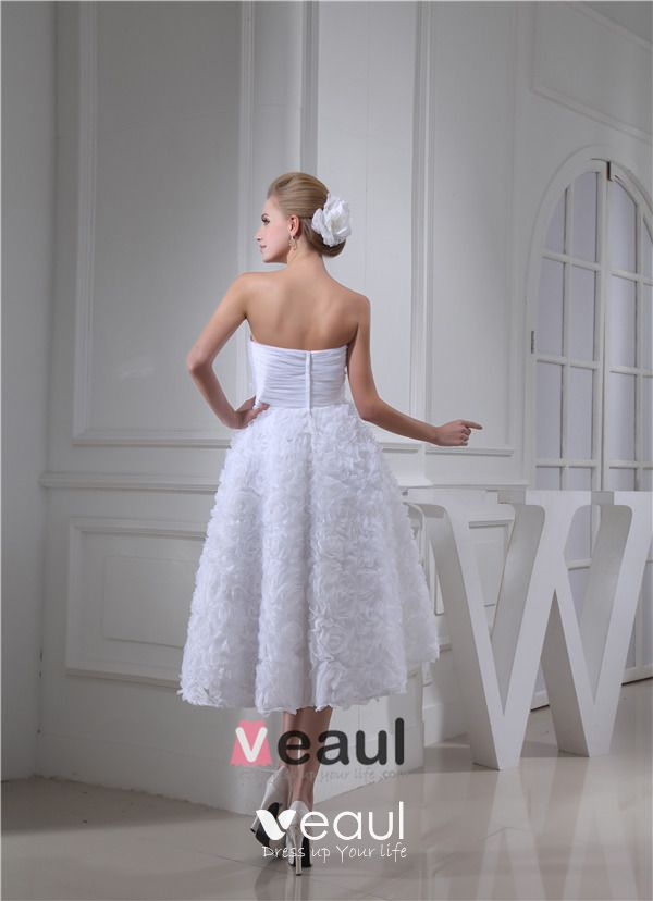 Cute A-line Sweetheart Strapless Ruffle Flowers Bridal Gown Wedding Dress