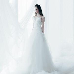 Błyszczące Piękne Kościół Suknie Ślubne 2017 Trenem Katedra Białe Princessa Bez Rękawów V-Szyja Bez Pleców Kryształ Cekiny