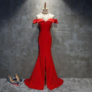 Chic / Beautiful Red Evening Dresses  2018 Trumpet / Mermaid Sequins Split Front Shoulders Sleeveless Floor-Length / Long Formal Dresses