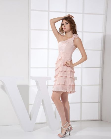 Sloping Neckline Pleat Flower Thigh Length Chiffon A-Line Woman Little Black Party Dress