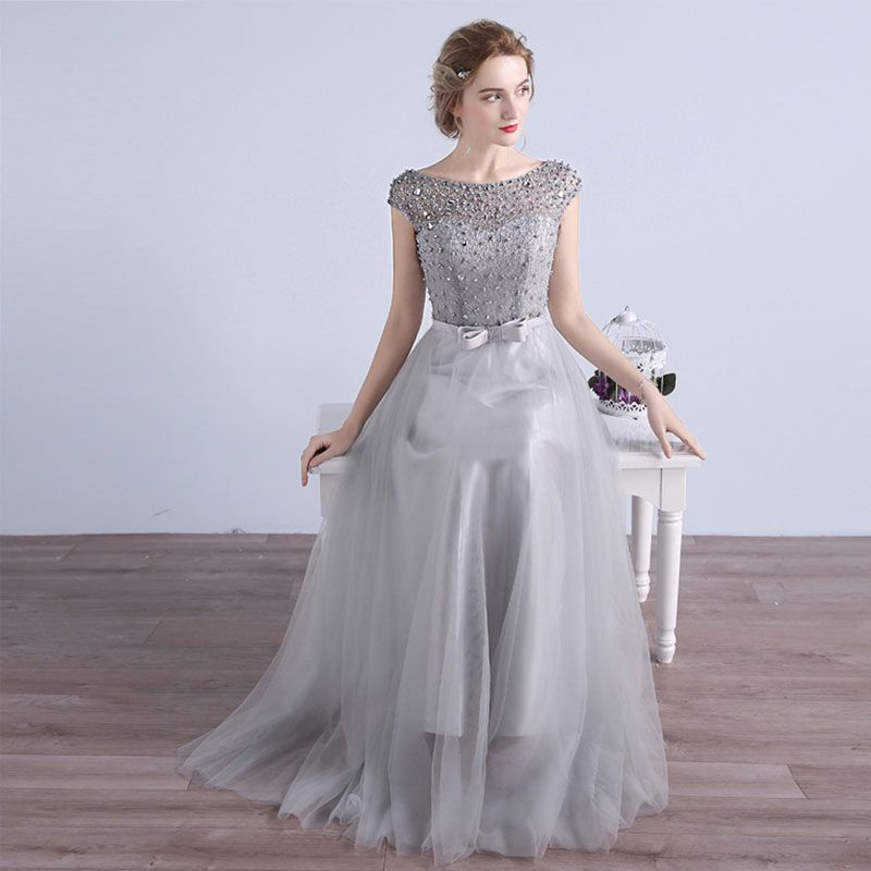 Affordable Bridesmaid Dresses 2017 A-Line / Princess Short Sleeve Backless Pearl Tulle Sash Floor-Length / Long Wedding Party Dresses