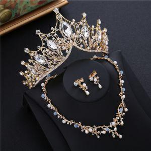 Piękne Złote Tiara Kolczyki Naszyjnik Frezowanie Rhinestone 2019 Metal Biżuteria Ślubna Akcesoria