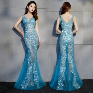 Sexy Ocean Blue See-through Evening Dresses  2019 Trumpet / Mermaid V-Neck Sleeveless Appliques Lace Beading Floor-Length / Long Ruffle Backless Formal Dresses