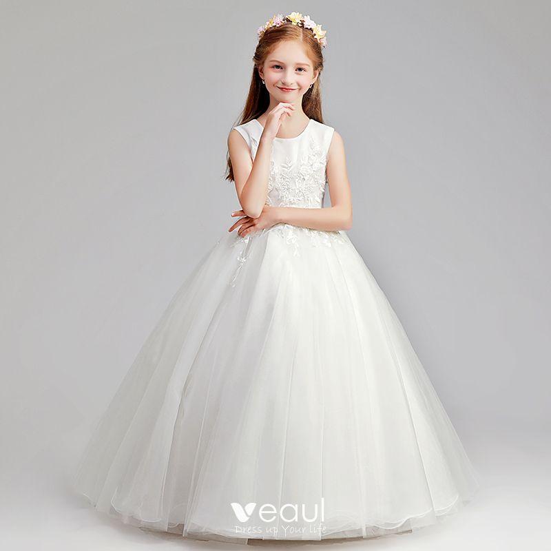 bbba0ba85 Hermoso Marfil Vestidos para niñas 2019 A-Line   Princess Scoop Escote Sin  Mangas Apliques Con Encaje Perla Largos Ruffle Vestidos para bodas