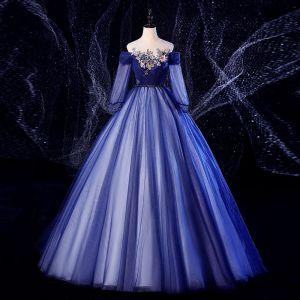 Élégant Bleu Marine Robe De Bal 2020 Robe Boule Encolure Dégagée Perlage Perle En Dentelle Fleur 3/4 Manches Dos Nu Longue Robe De Ceremonie