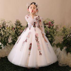 Chic / Belle Église Robe Pour Mariage 2017 Robe Ceremonie Fille Blanche Robe Boule Longue Encolure Dégagée Manches Longues Faux Diamant Fleur Appliques