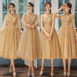 Affordable Gold See-through Bridesmaid Dresses 2020 A-Line / Princess Backless Glitter Tulle Tea-length Ruffle