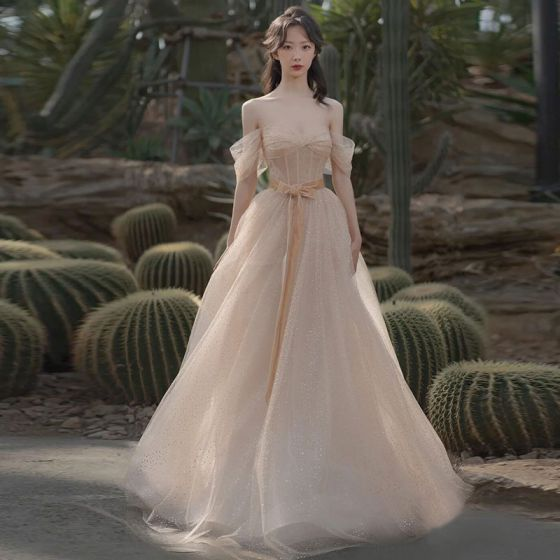 Charming Champagne Glitter Sequins Prom Dresses 2021 A-Line / Princess Off-The-Shoulder Short Sleeve Backless Floor-Length / Long Prom Formal Dresses
