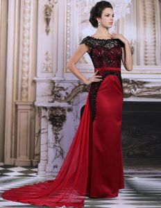 2015 Elegant Lace Beading Shoulders Red Evening Dress Mother Of The Bride Dress