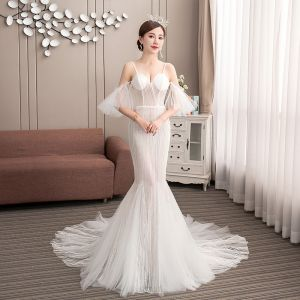 Affordable Champagne Outdoor / Garden Wedding Dresses 2019 Trumpet / Mermaid Spaghetti Straps Short Sleeve Backless Appliques Lace Court Train Ruffle