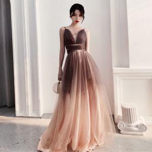 Mode Farbverlauf Khaki Glanz Abendkleider 2020 A Linie Spaghettiträger Ärmellos Rückenfreies Lange Festliche Kleider