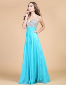 2015 Shoulders Sweetheart Sleeveless Floor Length Beading Chiffon Party Dress Prom Dress