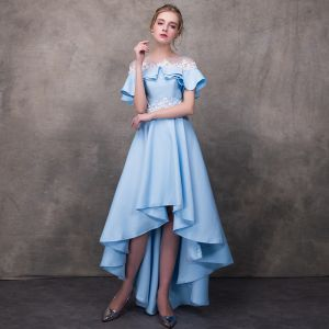 High Low Pool Blue See-through Cocktail Dresses 2018 A-Line / Princess Scoop Neck Short Sleeve Appliques Flower Beading Asymmetrical Ruffle Backless Formal Dresses