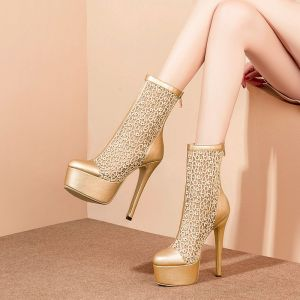 Modern / Fashion Gold Womens Boots 2018 Mid Calf Pointed Toe Platform 15 cm Stiletto Heels Boots