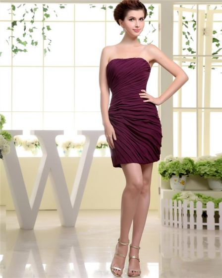 Strapless Neckline Thigh Length Pleat Chiffon A-Line Woman Little Black Party Dress