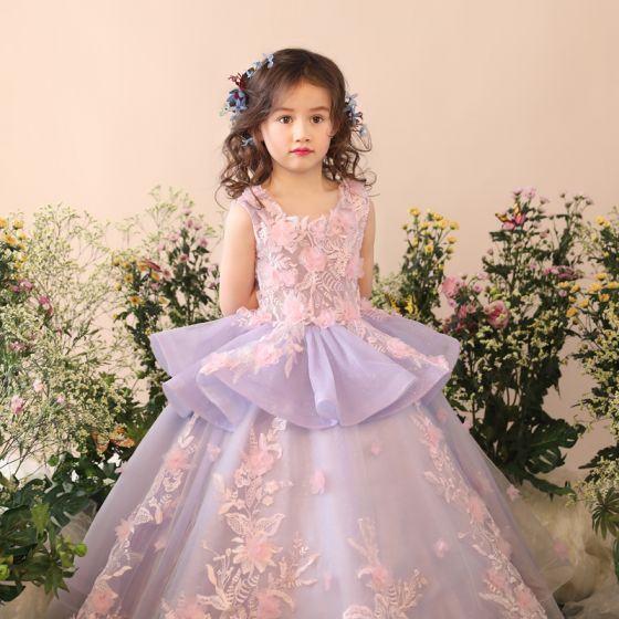 Chic / Beautiful Church Wedding Party Dresses 2017 Flower Girl Dresses Lilac Ball Gown Floor-Length / Long Scoop Neck Sleeveless Flower Appliques Glitter