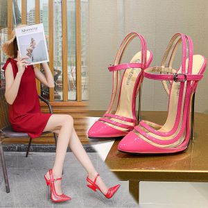 Sexy Pink Karneval Club Sandalen Damen 2020 15 cm Stilettos Spitzschuh High Heels