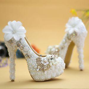 Chic / Belle Blanche Chaussure De Mariée 2019 Appliques Perlage Perle Faux Diamant 14 cm Talons Aiguilles À Bout Rond Mariage Escarpins