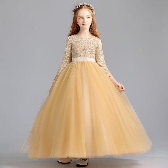 Hermoso Oro Vestidos para niñas 2020 Ball Gown Scoop Escote 3/4 Ærmer Apliques Con Encaje Cinturón Largos Ruffle