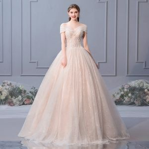 Elegant Champagne Wedding Dresses 2019 Ball Gown Off-The-Shoulder Beading Pearl Sequins Appliques Lace Flower Short Sleeve Backless Floor-Length / Long