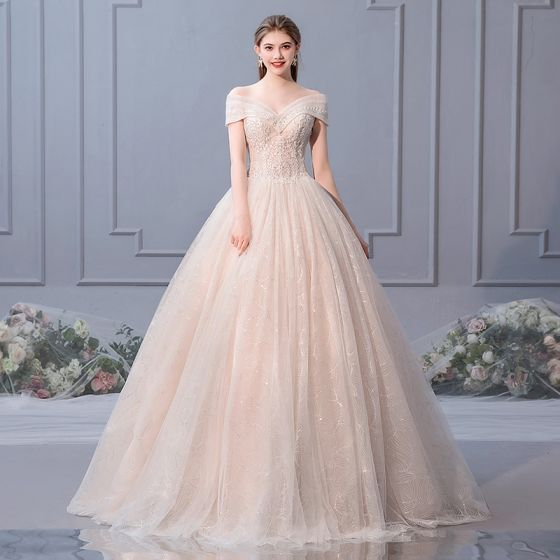 6d8b807cfff9 Elegant Champagne Wedding Dresses 2019 Ball Gown Off-The-Shoulder Beading  Pearl Sequins Appliques Lace Flower Short Sleeve Backless Floor-Length ...