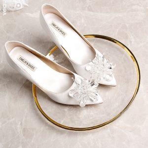 Mode Vita Brudskor 2019 9 cm Beading Läder Kristall Spetsiga Bröllop Högklackade Damskor