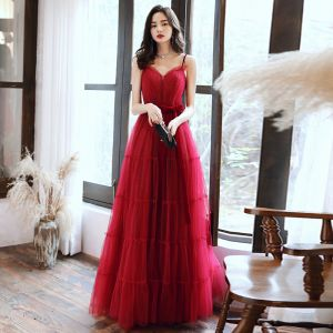 Chic / Beautiful Red Evening Dresses  2020 A-Line / Princess Spaghetti Straps Sleeveless Sash Glitter Tulle Floor-Length / Long Ruffle Backless Formal Dresses