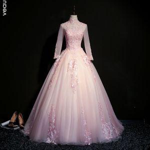 Elegante Blozen Roze Galajurken 2019 Baljurk Hoge Kraag Kralen Parel Kristal Kant Bloem Lange Mouwen Ruglooze Lange Gelegenheid Jurken