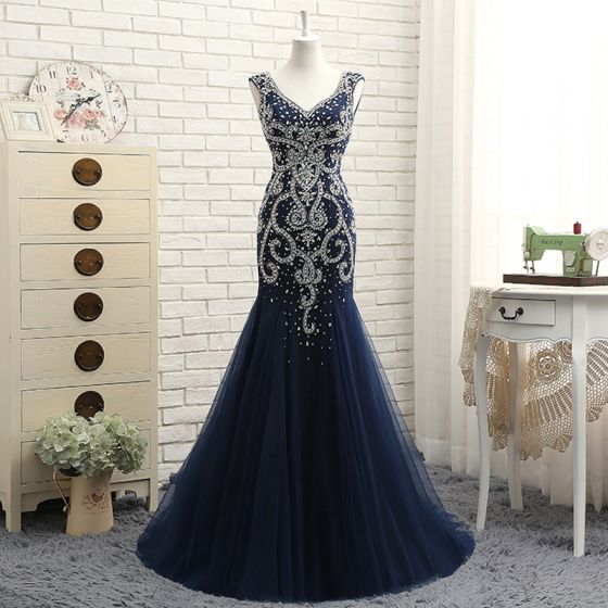 Chic / Beautiful Navy Blue Evening Dresses  2017 Trumpet / Mermaid Beading V-Neck Zipper Up Backless Sleeveless Floor-Length / Long Evening Party