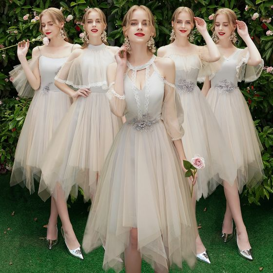 Elegant Champagne Grey Bridesmaid Dresses 2019 A-Line / Princess Backless Appliques Lace Beading Knee-Length Ruffle Wedding Party Dresses
