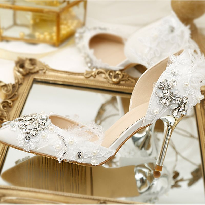 Luxury / Gorgeous White Wedding Beading Crystal Flower Rhinestone Wedding Shoes 2018