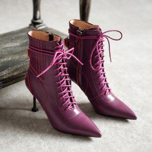 Classique Hiver Violet Désinvolte Cuir Bottes Femme 2020 8 cm Talons Aiguilles À Bout Pointu Bottes