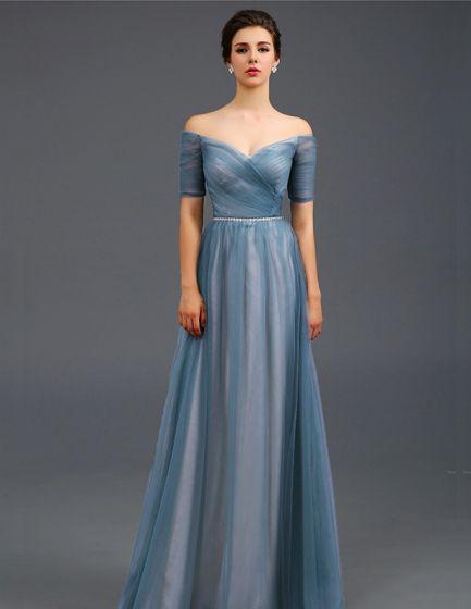2015 Empire Strapless Deep V-neck Bling Bling Sash Ruffle Tulle Evening Dresses