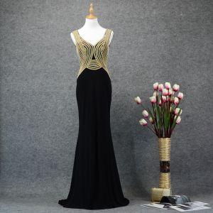Chic / Beautiful Black Gold Evening Dresses  2019 Trumpet / Mermaid V-Neck Rhinestone Sleeveless Backless Sweep Train Formal Dresses