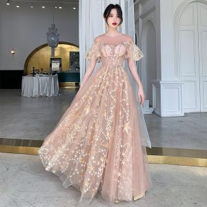 Illusion Champagner Durchsichtige Abendkleider 2020 A Linie Rundhalsausschnitt Kurze Ärmel Applikationen Star Pailletten Lange Rüschen Festliche Kleider