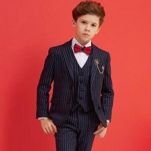 Eenvoudige Rode Das Zwarte Gestreept Boys Wedding Suits 2018